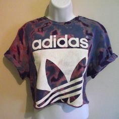 VINTAGE ADIDAS Crop Top T Shirt Blouse 90s Tie Dye Acid Wash Huff  Retro S 8 10