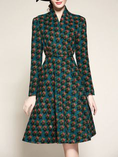 Multicolor Long Sleeve A-line Printed Midi Dress