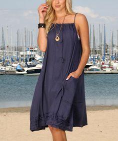 Look what I found on #zulily! Navy Embroidered-Hem Side-Pocket Sleeveless Dress #zulilyfinds