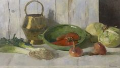 Jacoba Johanna 'Coba' Ritsema (1876-1961) A still life with vegetables and an eartherware strainer, oil on canvas 67 x 118,4 cm., signed l.r. Collecion Simonis & Buunk, The Netherlands.