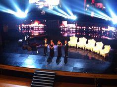 Neri Marcorè, Monica Guerritore, Geppi Cucciari e Roberto Zuccato sul palco per dare avvio alla cerimonia di premiazione del Premio Campiello 2014