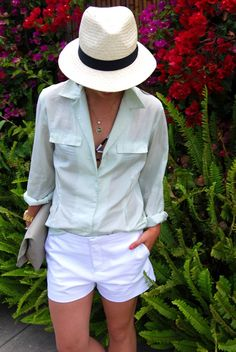 panama hat, button down, shorts, this time tomorrow