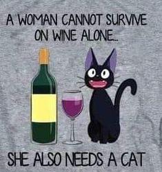 Wine and Cats - tierisch gut - Katzen, Cat Funny Crazy Cat Lady, Crazy Cats, Cat Quotes, Funny Quotes, Cat Wine, Cat Posters, Cat People, Cat Memes, Cool Cats