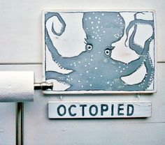 Cute Octopus Decor. Octopus Sign... http://www.completely-coastal.com/2015/02/octopus-decor.html