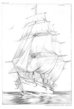 Pirate Ship Drawing, Boat Drawing, Pencil Art Drawings, Art Drawings Sketches, Easy Drawings, Pirate Ship Tattoos, Ship Sketch, Ship Paintings, Boat Art