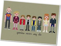 """""""Pixel People - The Goonies"""" cross-stitch pattern by Jacqueline & Christopher Gable of WeeLittleStitches @ etsy.com"""