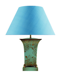 T3-028BB - Square hand painted tea caddy table lamp, with feet, blossom and bugs on celadon blue