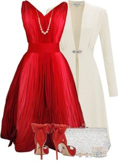 A fashion look from February 2015 featuring short red dress, heavy coat and white purse. Browse and shop related looks. Vintage Outfits, Classy Outfits, Stylish Outfits, Vintage Dresses, Dress Outfits, Fashion Dresses, Dress Up, Swag Dress, Fancy Dress