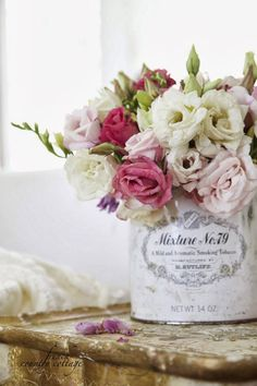 <3  French Country Cottage~This Can Is A  Special Blend Pipe Tobacco~My Father has Smoked This For Years,It Also Smells So Wonderful~I Have Now Made Many Arrangements Using These Beautiful Cans~Kimberly Stanley