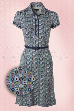 King Louie 60s Polo Tosca Dress in Pastel Blue
