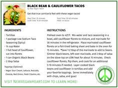 Black Bean & Cauliflower Tacos — New Vegan Heart