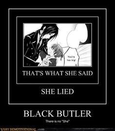 "Black Butler ~~ Sadly, there was a ""she"". Her name was ""Beast"" and Sebastian did indeed... ick..."