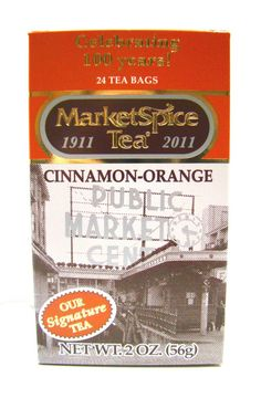 """SERIOUSLY THE *BEST* TEA EVER! Market Spice Tea    Our same world famous Market Spice tea now comes in a """"Celebrating 100 years!"""" anniversary box. Originating in Seattle's historic Pike Place Market, this is Market Spice's signature tangy spice tea. Its unique orange and cinnamon flavor is all natural and contains no sugar."""