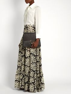 Leaf-print gathered cotton-blend maxi skirt   Chloé   MATCHESFASHION.COM US