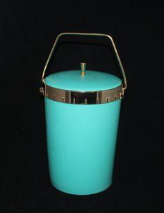 Turquoise ice bucket mid century vintage by prettydish on Etsy, $20.00