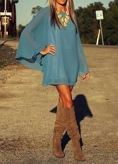 the boots with the top look great. Knee high boots flowy dress