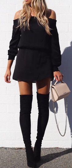 #summer #outfits Black Off The Shoulder Dress + Black OTK Boots