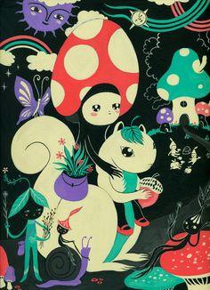 Mushroom and Squirl - Art Print