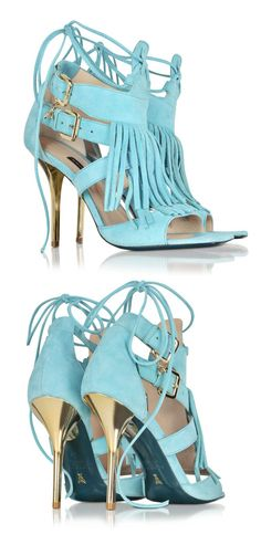 PATRIZIA PEPE Wave Green Suede and Leather Fringe High Heel Sandal