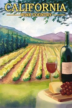 California Wine Country 12x18 Art Print Wall Decor Travel Poster >>> Read more  at the image link.