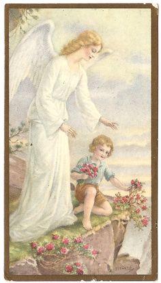 Beautiful Guardian Angel & Child Boy Antique by 12StarsVintage
