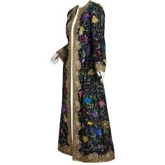 Preowned One Of A Kind Michael Novarese Embroidered Kaftan Coat ($6,000) ❤ liked on Polyvore featuring outerwear, coats, black, evening coat, floor length coat, embroidered coat and embroidered kaftan