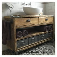 DULWICH-Industrial Bathroom Wash Stand,Wooden Bathroom Vanity Industrial, Bathroom Vanity Reclaimed Wood - All For Decoration Timber Bathroom Vanities, Reclaimed Wood Bathroom Vanity, Industrial Bathroom Vanity, Bathroom Vanity Units, Bathroom Furniture, Rustic Vanity, Master Bathroom, Etsy Furniture, Reclaimed Furniture