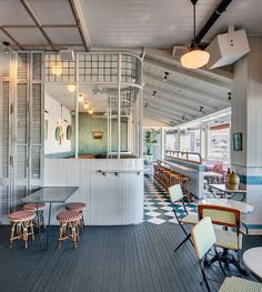 'Papi Chulo' Restaurant on Manly Wharf in Sydney Harbour by Akin Creative. Decoration Restaurant, Bar Restaurant, Vintage Restaurant, Restaurant Design, Russian Restaurant, Restaurant Interiors, Cafe Interior Design, Cafe Design, Interior Architecture