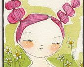 ORIGINAL ACEO of a woman Artist trading cards ATC by corid