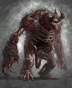 View an image titled 'Cronos Cyclops Art' in our God of War III art gallery featuring official character designs, concept art, and promo pictures. Monster Art, Fantasy Monster, Monster Design, Cool Monsters, Dnd Monsters, Creature Concept Art, Creature Design, Arte Horror, Horror Art