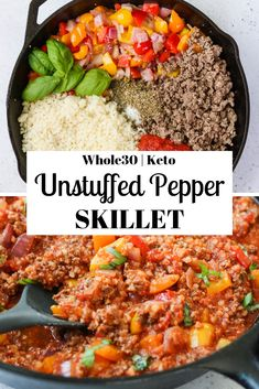 This Unstuffed Pepper Skillet is an easy Whole30 and Keto weeknight meal the whole family will love. It comes together in just 25 minutes in one pan! #whole30 #whole30recipes #stuffedpeppers #unstuffedpeppers #skilletmeals #lowcarb #keto #ketorecipes #healthyrecipes #easyrecipes
