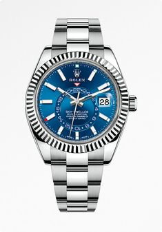 The Rolex Sky-Dweller, in white Rolesor, a combination of 904L steel and 18ct white gold, with a blue sunray finish dial and Oyster bracelet.