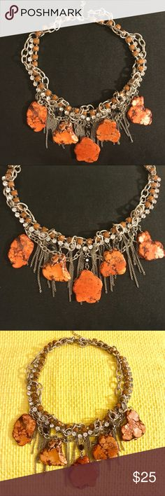 """💥⚡️PRICE DROP⚡️💥EDGY STATEMENT NECKLACE ABSOLUTELY STUNNING & UNIQUE! This is definitely a necklace you wear to make a """"STATEMENT"""" and give off a COOL EDGY VIBE! It has beautiful Earthy, coral tone stones mixed together with silver chains, diamond-like rhinestones, black & coral colored rhinestones and some MORE chains! CHAIN LENGTH: adjustable up to 20 inches. ***I will be posting more jewelry soon, so PRICE IS NEGOTIABLE if interested in other items! Express Jewelry Necklaces"""