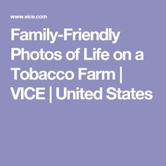 Family-Friendly Photos of Life on a Tobacco Farm | VICE | United States