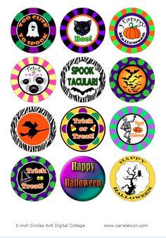 Sofort-Download Halloween Bottlecap Bilder V2 / Halloween Kürbis Fledermäuse Witch Cat Skelett Spinnen / digitale Collage / 1-Zoll Kreise