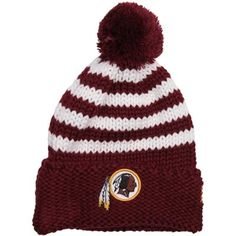 New Era Washington Redskins Ladies Chunky Stripe Knit Ski Hat - Burgundy