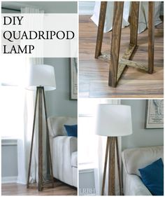 DIY Lamp: Build Your Own Quadripod Lamp. Did you know you could build your own floor lamp? It's a cheap and easy DIY lamp! Diy Projects To Try, Home Projects, Luminaria Diy, Diy Woodworking, Diy Furniture, Diy Home Decor, Easy Diy, House Design, Decoration