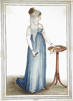 I think it's rather elegant.  I like how the sheer, white sleeves could possibly be attached to the blue gown.  Also, the lace, or ruched detailing around the top of the bodice is so delicate and pretty.  I kind of like the veil too.