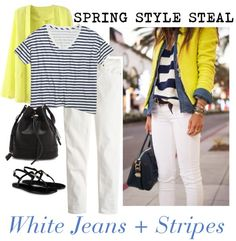 3 Ways to Spring Style via History & High Heels: White Jeans + Stripes