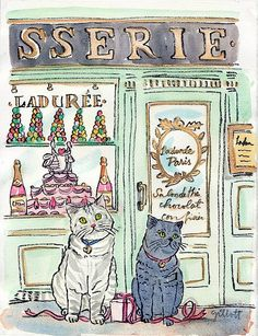 Artist Carol Gillot will paint a custom watercolor of your pet(s) in Paris. Etsy.