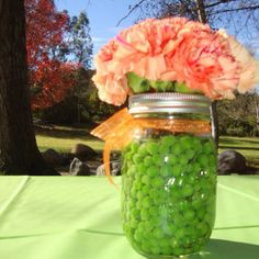 Flower arrangement I made for a Pea In a Pod baby shower.