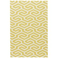 Jaipur Geometric Pattern Yellow White Polypropylene CAT33 Rug