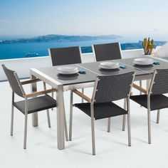 New Modern Outdoor Dining Set Black Polished Granite Rattan Steel 6 Seater Grosseto Dining Furniture Sets. Fashion is a popular style Modern Outdoor Dining Sets, Modern Patio, Outdoor Tables, Outdoor Living, Outdoor Decor, Dining Furniture Sets, Garden Furniture, Outdoor Furniture Sets, Furniture Design