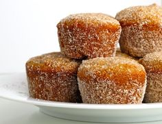 Baked Apple Cider Donut Holes. Think I can get the kids to make these for me?