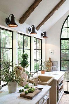 Black Steel Windows Flush with Kitchen Countertop - Wood, white, black windows. Jill Sharp Interiors