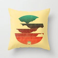 vintage sun, sunset, sunrise, holiday, retro, surf, camper van, beach, summer, Go West Throw Pillow by Budi Satria Kwan - $20.00