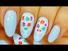 Nail Art. Colourful Flowers ! Light Blue Design ! - YouTube