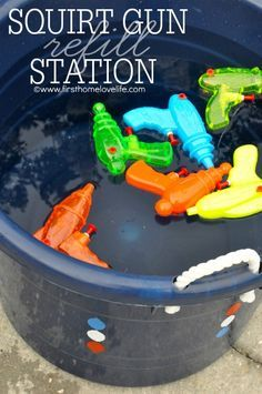 Get ready for the Fourth of July by creating a Squirt Gun Station for the kids to cool down!