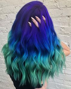 41 Bold and Beautiful Blue Ombre Hair Color Ideas Purple to Blue to Teal Ombre Hair Bold Hair Color, Cute Hair Colors, Pretty Hair Color, Green Hair Colors, Beautiful Hair Color, Hair Dye Colors, Blue Colors, Purple And Green Hair, Pink Yellow