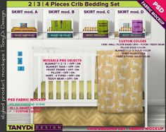 Crib Bedding Photoshop Fabric Mockup F-4CBS3  PNG Movable
